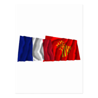 France & Languedoc-Roussillon waving flags Postcard