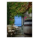 France, Les Baux de Provence, café patio Greeting Card