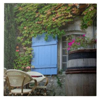 France, Les Baux de Provence, café patio Large Square Tile
