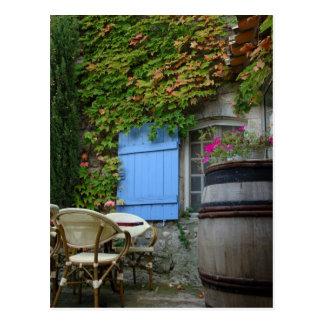 France, Les Baux de Provence, café patio Postcard