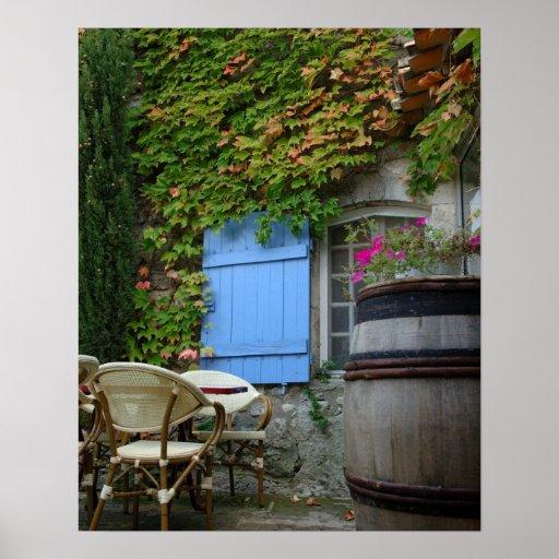 France, Les Baux de Provence, café patio Print