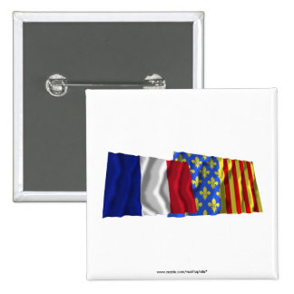 France & Lozère waving flags Buttons