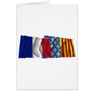 France & Lozère waving flags Greeting Card