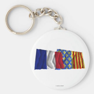 France & Lozère waving flags Key Chains