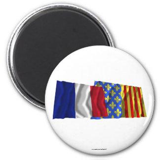 France & Lozère waving flags Magnets
