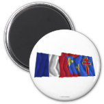 France & Maine-et-Loire waving flags Fridge Magnets