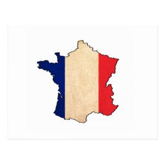 France Map on France flag Drawing Postcard