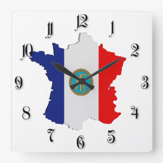 France map square wall clock