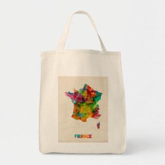 France Map Watercolor Tote Bag