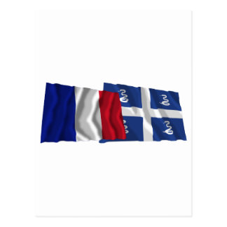 France & Martinique waving flags Postcard