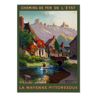 France Mayenne Restored Vintage Travel Poster