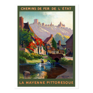 France Mayenne Restored Vintage Travel Poster Postcard