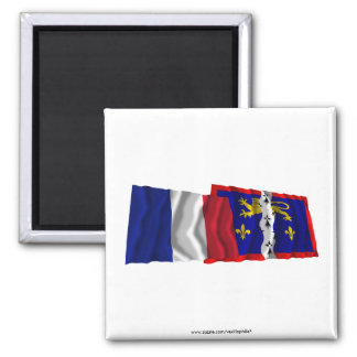 France & Mayenne waving flags Magnet