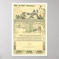 France music sheet Sur le Pont d'Avignon song Poster