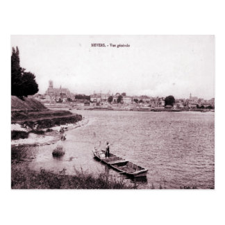 France Nevers, fisherman and boat on the river Postcard