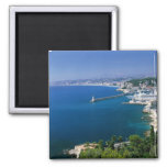 France, Nice, aerial view of the port 2 Inch Square Magnet