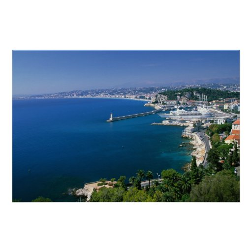 France, Nice, aerial view of the port Poster