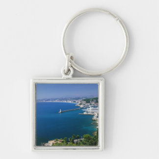 France, Nice, aerial view of the port Silver-Colored Square Keychain
