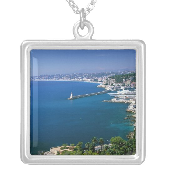 France, Nice, aerial view of the port Silver Plated Necklace