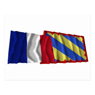 France & Nièvre waving flags Postcard