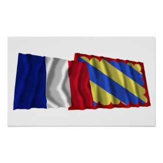 France & Nièvre waving flags Poster