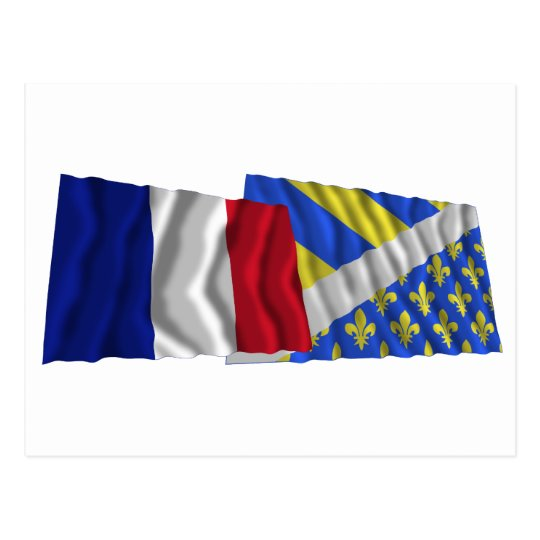 France & Oise waving flags Postcard