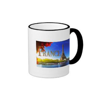 France on the Seine with Eiffel Tower Ringer Mug