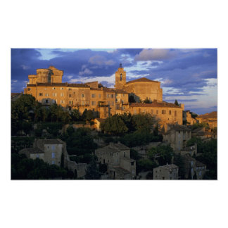 France, PACA, Vaucluse, The village in sunset Poster
