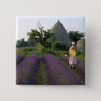 France, PACA, Vaucluse, Woman in a lavender Button