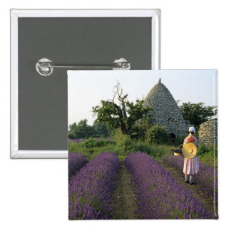 France, PACA, Vaucluse, Woman in a lavender 2 Inch Square Button