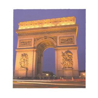 France, Paris, Arc de Triomphe at dusk. Notepad