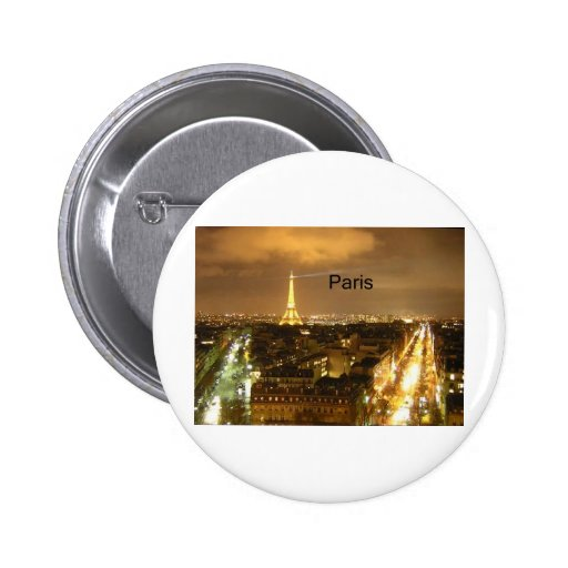 France Paris at night Eiffel Tower (by St.K) Pinback Buttons
