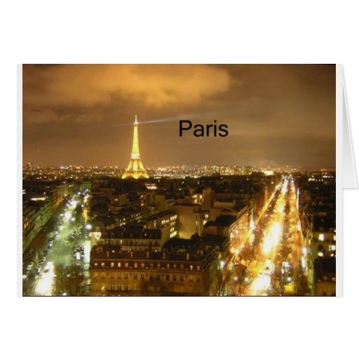 France Paris at night Eiffel Tower (by St.K) Card