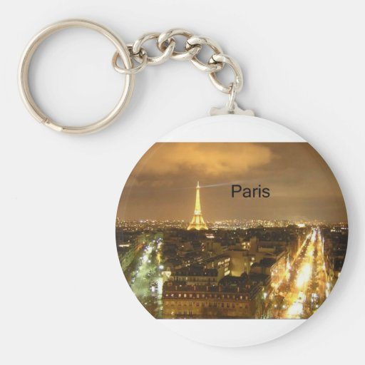 France Paris at night Eiffel Tower (by St.K) Keychains