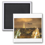 France Paris at night Eiffel Tower (by St.K) 2 Inch Square Magnet