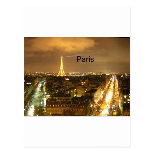 France Paris at night Eiffel Tower (by St.K) Postcard