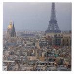 France, Paris, cityscape with Eiffel Tower Ceramic Tile