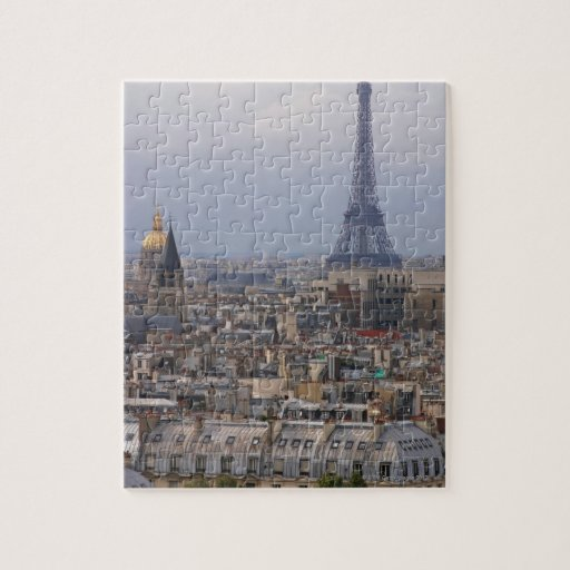 france paris cityscape with eiffel tower jigsaw puzzle zazzle. Black Bedroom Furniture Sets. Home Design Ideas