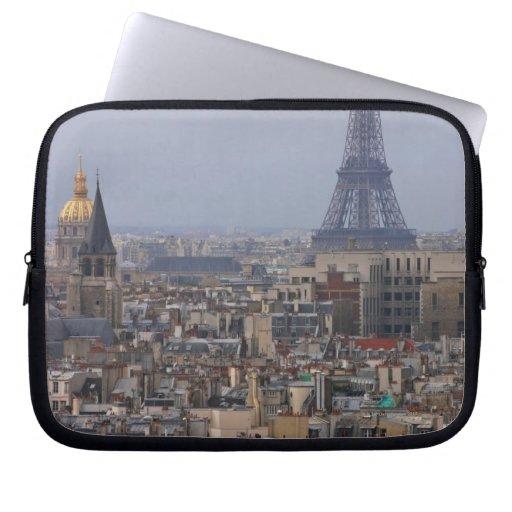 France, Paris, cityscape with Eiffel Tower Laptop Computer Sleeve
