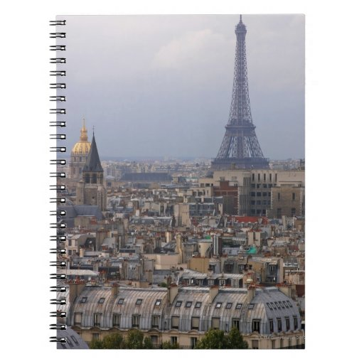 France, Paris, cityscape with Eiffel Tower Spiral Note Books