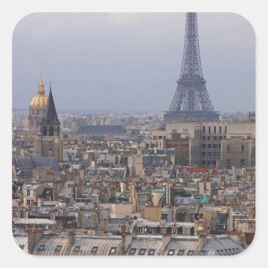 France, Paris, cityscape with Eiffel Tower Square Sticker