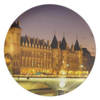 France, Paris, Conciergerie and river Seine at Melamine Plate