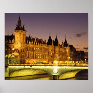 France, Paris, Conciergerie and river Seine at Poster