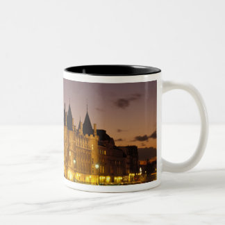 France, Paris, Conciergerie and river Seine at Two-Tone Coffee Mug