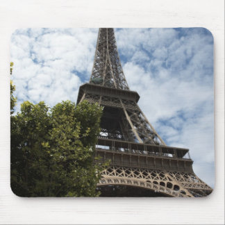 France, Paris, Eiffel Tower and tree, low angle Mouse Pad