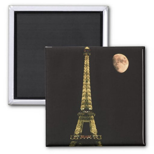 France, Paris. Eiffel Tower at night with 2 Inch Square Magnet