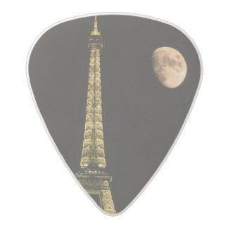 France, Paris. Eiffel Tower at night with Acetal Guitar Pick