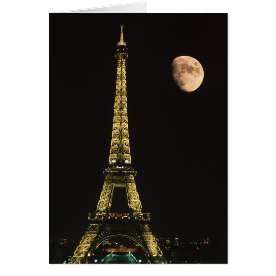 France, Paris. Eiffel Tower at night with Card