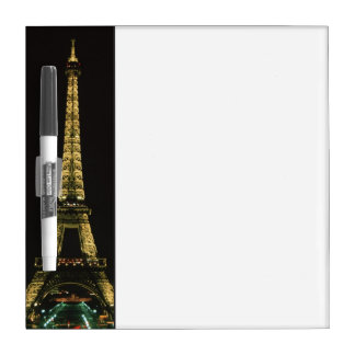 France, Paris. Eiffel Tower at night with Dry Erase Board