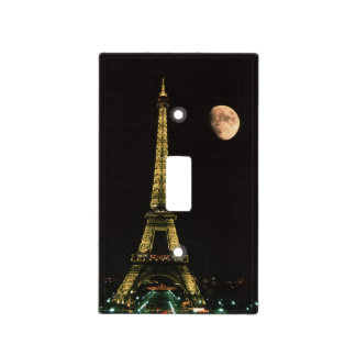 France, Paris. Eiffel Tower at night with Light Switch Cover